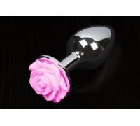 Пикантные Штучки Rose Large - большая анальная пробка, 8.5х4 см (розовый)