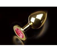 Большая золотистая анальная пробка с кристаллом (Рубиновый)