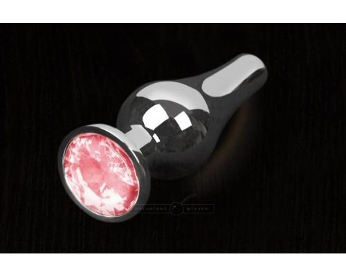 Пикантные Штучки, Серебристая анальная пробка с кристаллом - 12Х4 см. (розовый)