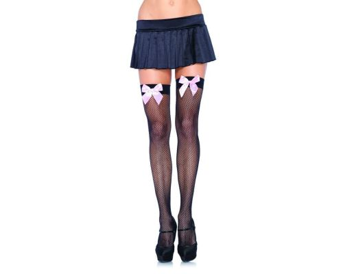 Leg Avenue Fishnet Thigh Highs With Bow - чулочки сетка с бантиком (черный с розовым)
