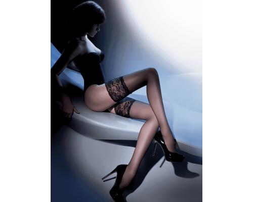 Чулки Gabriella Calze Exclusive 15 den с кружевом 14 см, 1/2 (черный)