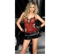 Leg Avenue LEG28104MBl - Виниловая мини-юбка M, (красный с черным)