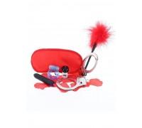 Scala The Naughty Birthday Kit - Подарочный набор (наручники+повязка для глаз+мини вибратор+эрекцеонное кольцо+эротические кости+лепестки роз+перьевая метелочка)