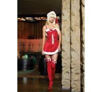 Leg Avenue Holiday Dress LEG83138 - Бархатное платье с косточками для бюста S, (красный)