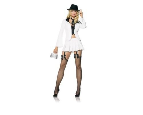 Leg Avenue Ganster Suit LEG83278Mw/bl - Костюм гастерши M, (белый)