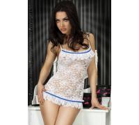 Кружевная секси-сорочка Chilirose (белый с голубым S)