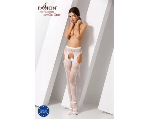 Эротические колготки-бодистокинг Passion S022 white, имитация цветочных чулочков и пояса для чулок