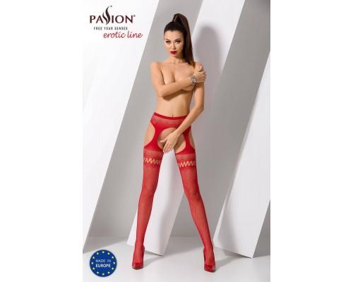 Эротические колготки-бодистокинг Passion S013 red, имитация высоких ажурных чулок и пояса
