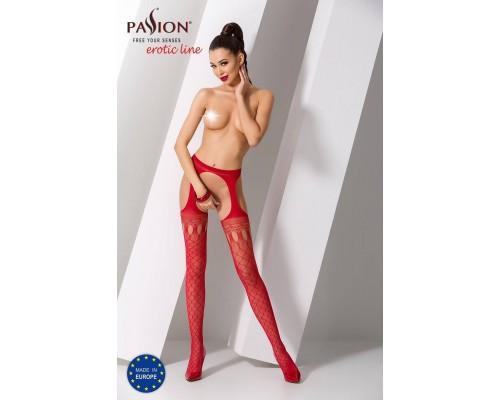 Эротические колготки-бодистокинг Passion S024 red, имитация соблазнительных чулочков и пояса