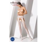 Эротические колготки-бодистокинг Passion S017 white, имитация ажурных чулок и пояса