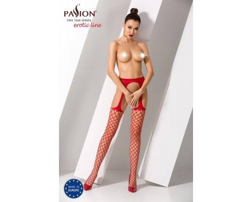 Эротические колготки-бодистокинг Passion S011 red, имитация чулок в крупную сетку и пояса