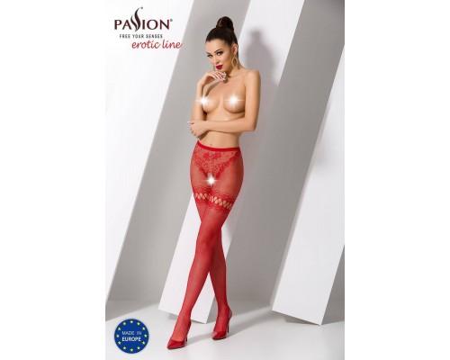 Эротические колготки-бодистокинг Passion S015 red, имитация чулок в сеточку и трусиков с доступом