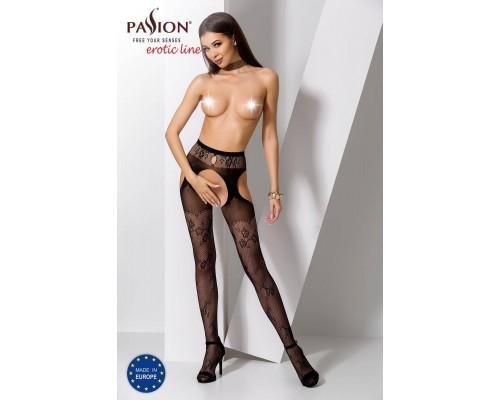 Эротические колготки-бодистокинг Passion S022 black, имитация цветочных чулочков и пояса для чулок