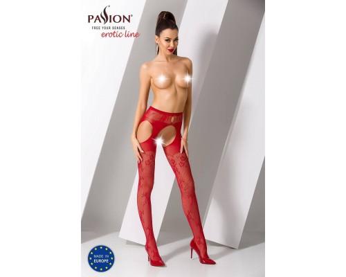 Эротические колготки-бодистокинг Passion S022 red, имитация цветочных чулочков и пояса для чулок