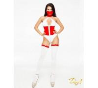 """Эротический костюм медсестры """"Развратная Аэлита"""" XS-S, боди на молнии, маска, чулочки"""