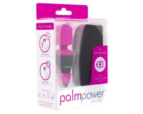Мини вибромассажер PalmPower Pocket для путешествий (9см), водостойкий, чехол в комплекте