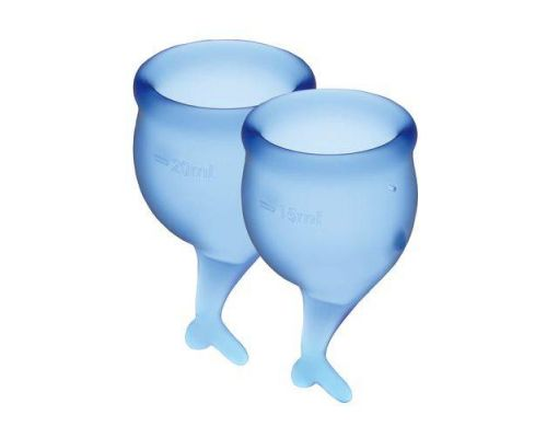 Набор менструальных чаш Satisfyer Feel Secure (dark blue), 15мл и 20мл, мешочек для хранения