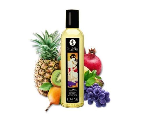 Массажное масло Shunga Libido - Exotic Fruit (250 мл) натуральное увлажняющее