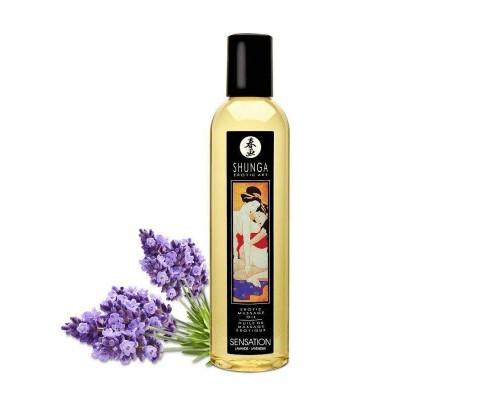 Массажное масло Shunga Sensation - Lavender (250 мл) натуральное увлажняющее