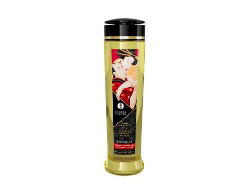 Массажное масло Shunga Romance - Sparkling Strawberry Wine (240 мл) натуральное увлажняющее