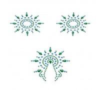 Пэстис из кристаллов Petits Joujoux Gloria set of 3 - Green/Blue, украшение на грудь и вульву