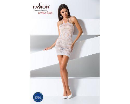 Бодистокинг Passion BS063 white, платье-сетка халтер