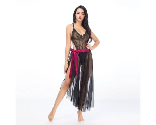 Эротический полупрозрачный комплект боди с юбкой