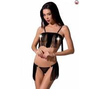 Комплект белья KASSANDRA SET OpenBra black L/XL - Passion Exclusive: лиф из бахромы, трусики-юбка