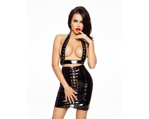 Лакированная юбка со шнуровкой, размер M
