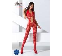 Бодистокинг Passion BS065 red, комбинезон, крупная сетка