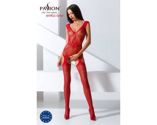 Бодистокинг Passion BS062 red, комбинезон, имитация чулок