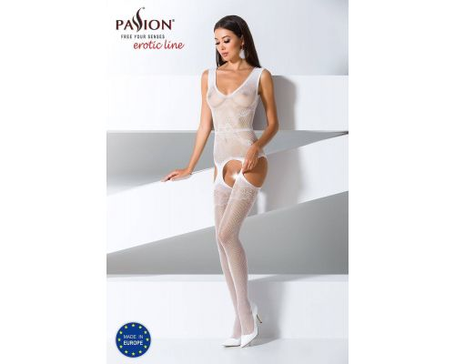 Бодистокинг Passion BS062 white, комбинезон, имитация чулок