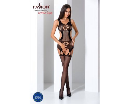 Бодистокинг Passion BS066 black, комбинезон, имитация чулок и пояса