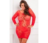 Кружевное платье с длинным рукавом красное TIE BREAKER, XL / 2XL