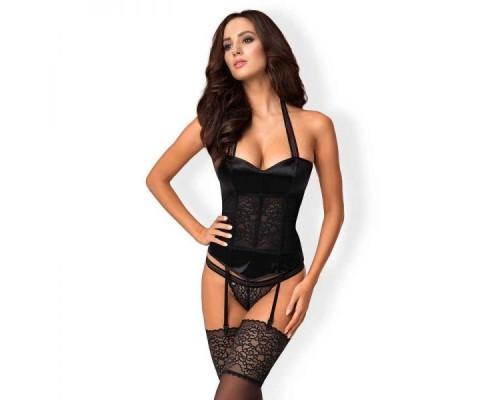Комплект Obsessive Ailay corset & thong black, L/XL