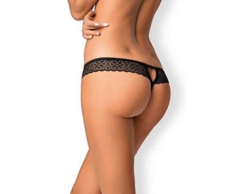 Стринги с интимным вырезом Obsessive Shibu crotchless thong black S/M